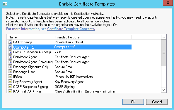 Enable Certificate Template