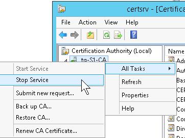 Restart Certification Authority